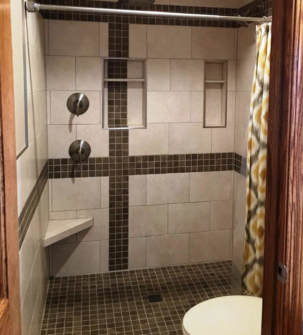 Custom shower remodels maly ceramic tile co these residential customers created their own accent band pattern and incorporated the accent onto their new bath floor tile install as well dailygadgetfo Image collections